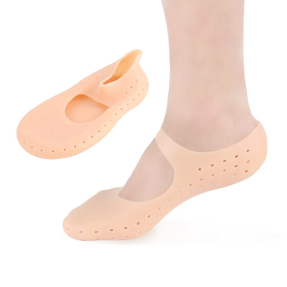 1 Pair Foot Protector Silicone Socks Moisturizing Anti-cracking Boots Arch Support SPA Foot Protection Insert Gel Insole