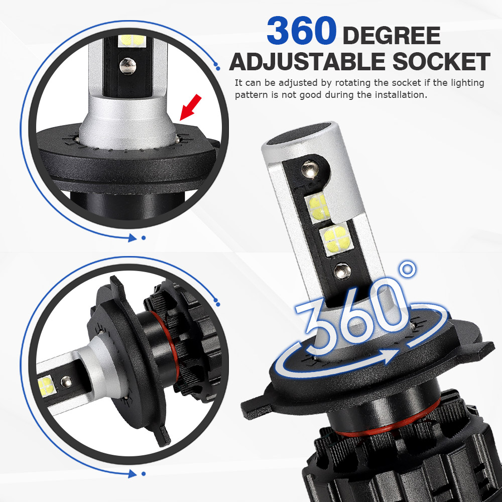 Image 5 - NOVSIGHT 6500K H4 LED H7 H11 H8 HB4 H1 H3 HB3 9005 9006 9007 H13 Auto Car Headlight Bulbs 60W 18000LM Car Styling led automotivo-in Car Headlight Bulbs(LED) from Automobiles & Motorcycles
