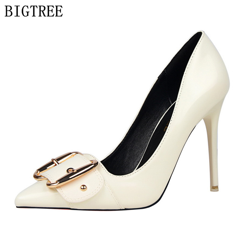 bling bling wedding shoes patent leather woman pumps designer luxury brand  bigtree shoes red fetish high heels sexy buckle shoes-in Women s Pumps from  Shoes ... 546d39e52f2e
