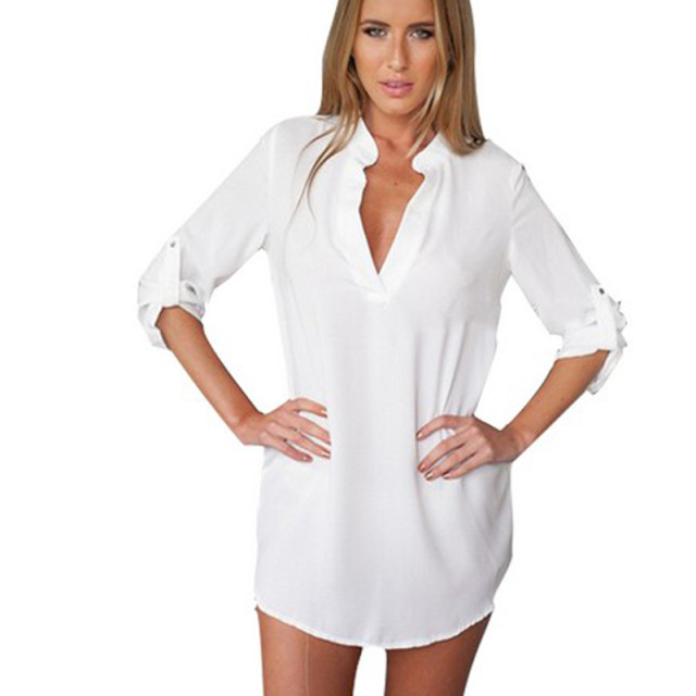 2015 White Sleep Shirt Women Sleepwear Chiffon Summer Night Clothing For Ladies  Women Plus Size c0ccc2617