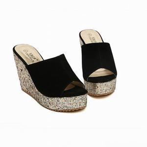 Image 5 - 2020 אופנה פאייטים גבוהה העקב נעלי נשים קיץ נעלי זמש פלטפורמת סנדלי גבירותיי טריזים סנדלי כפכפים