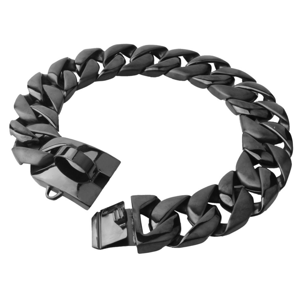 30MM Huge Heavy 316L Stainless Steel Black Color Cuban Curb Link Chain Pet Dogs Collar Choker
