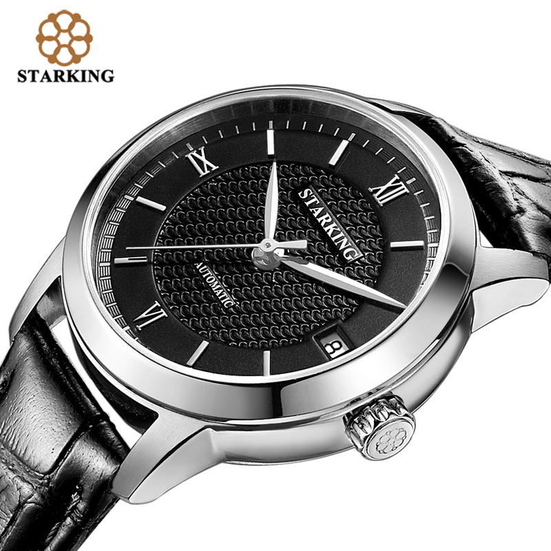 STARKING Women Skeleton Automatic Mechanical Watches Luxury Famous Brand Stainless Steel clock Sapphire Black Wrist Watch AL0187 shenhua brand black dial skeleton mechanical watch stainless steel strap male fashion clock automatic self wind wrist watches