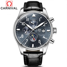 Hombres Reloj marca Carnaval Reloj Mecánico Automático Relojes de Los Hombres de Negocios Hombre Reloj Relojes de Pulsera de Cuero Hombre Relogio