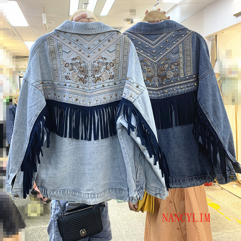 2020 Autumn Heavy Industries Embroidered Denim Jacket Women's Loose BF Tassel Rivet Jean Coat Outwear Ladies Casual Cowboy Coats