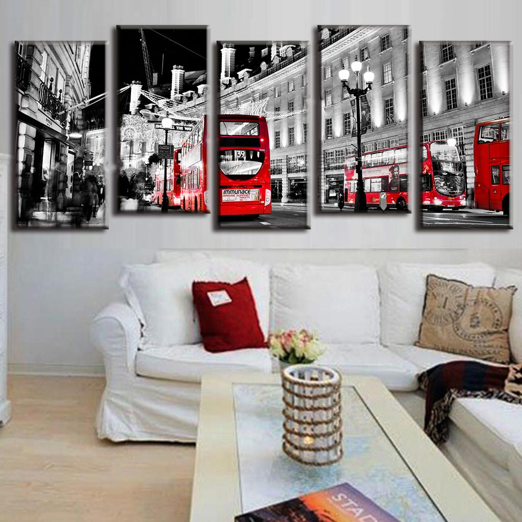Modern oil Canvas Painting Landscape Red Bus In Grey City LA5001-in ...
