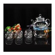 Marke Neue Klar 600 ml Hitzebeständigem Glas Blume Teekanne Set 6 Doppelwand Tee Tasse Tee Wärmer Chinesische Kungfu Tee Sets