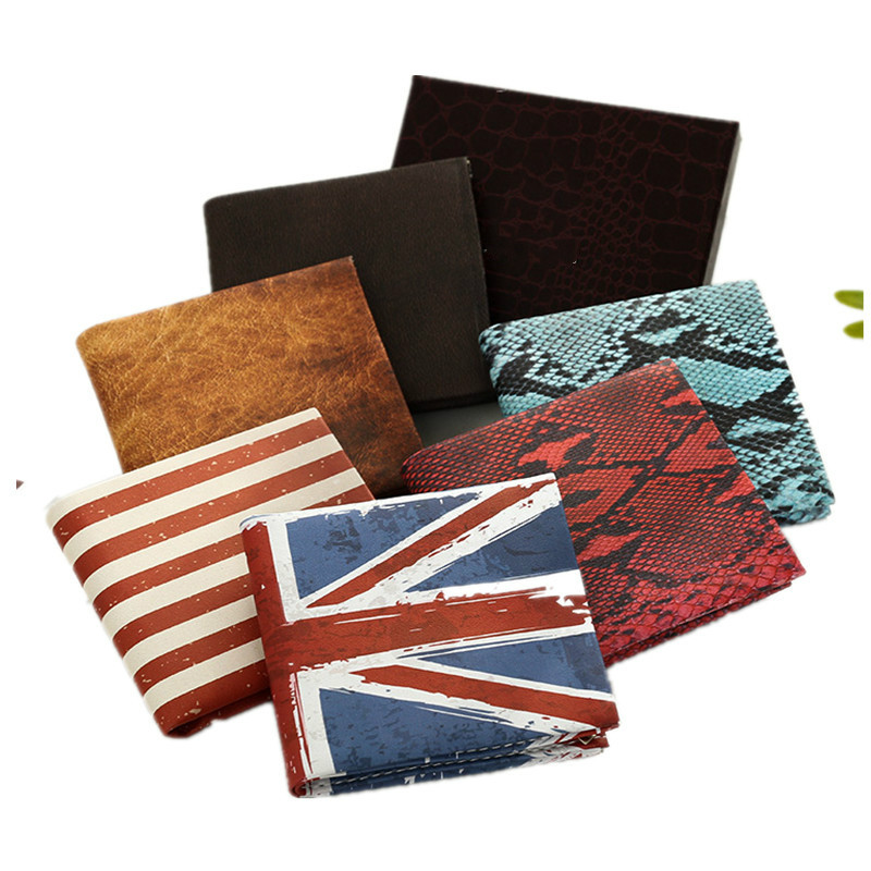New Flag Wallet Snake Retro Creative Men's Short PU Leather Student Wallet Rice Flag Stars and Stripes Flag