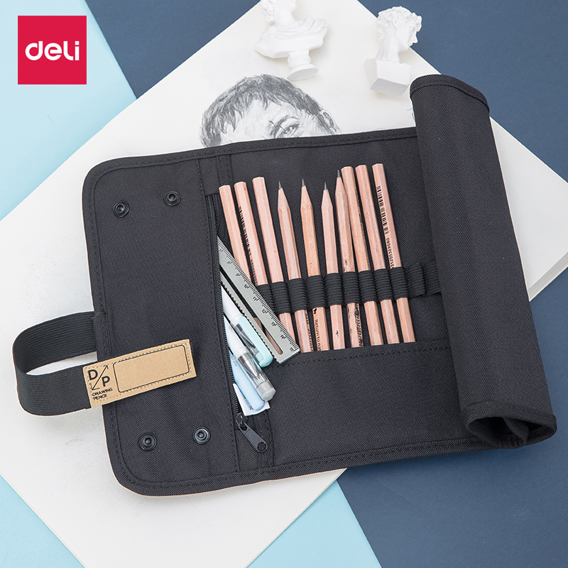 Deli Nylon 48 holes Roll Up pencil bag box Sketch Drawing pencils case Organizer Punch storage bag student stationery pen holderDeli Nylon 48 holes Roll Up pencil bag box Sketch Drawing pencils case Organizer Punch storage bag student stationery pen holder