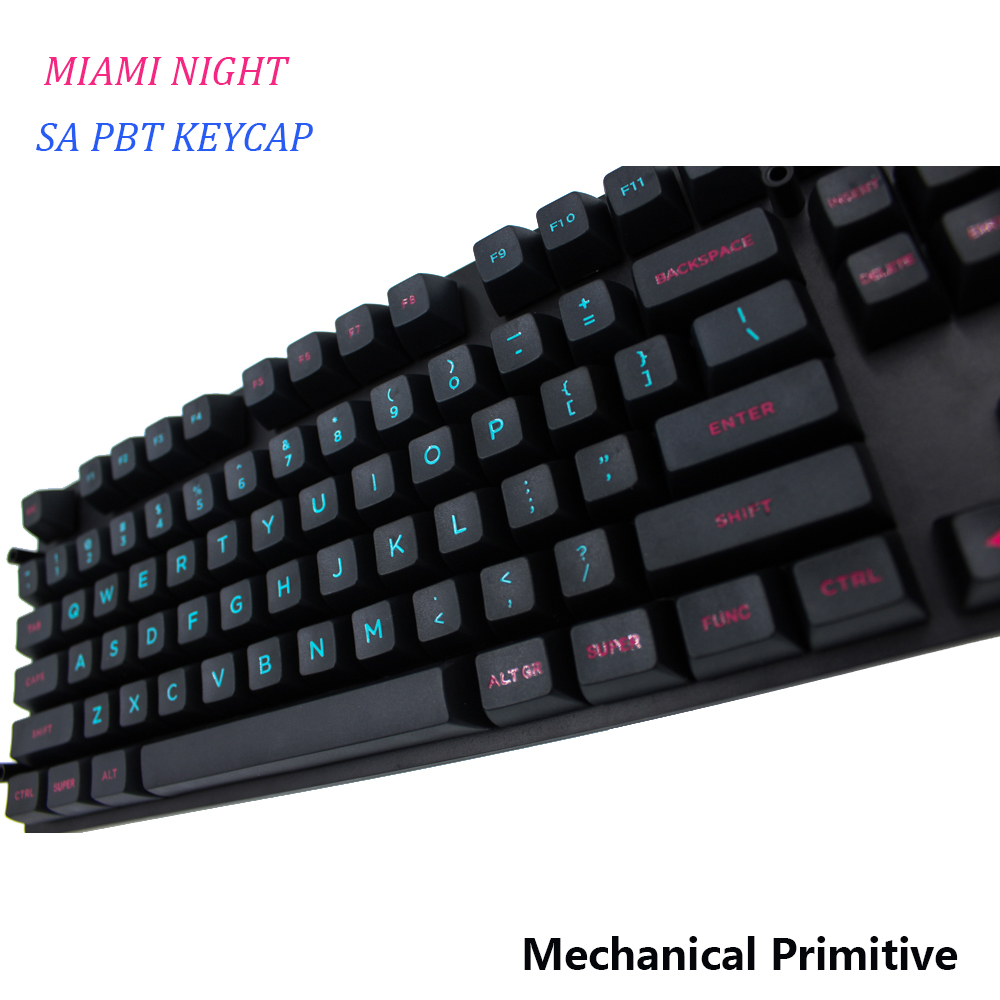 MP SA PBT Keycap Miami Etched Coloring Fonts Keycap Cherry MX switch keycaps for Wired USB Mechanical Gaming keyboard mp 104 87 keys red gradient cherry mx switch pbt keycaps radium valture side printed keycap for mechanical gaming keyboard
