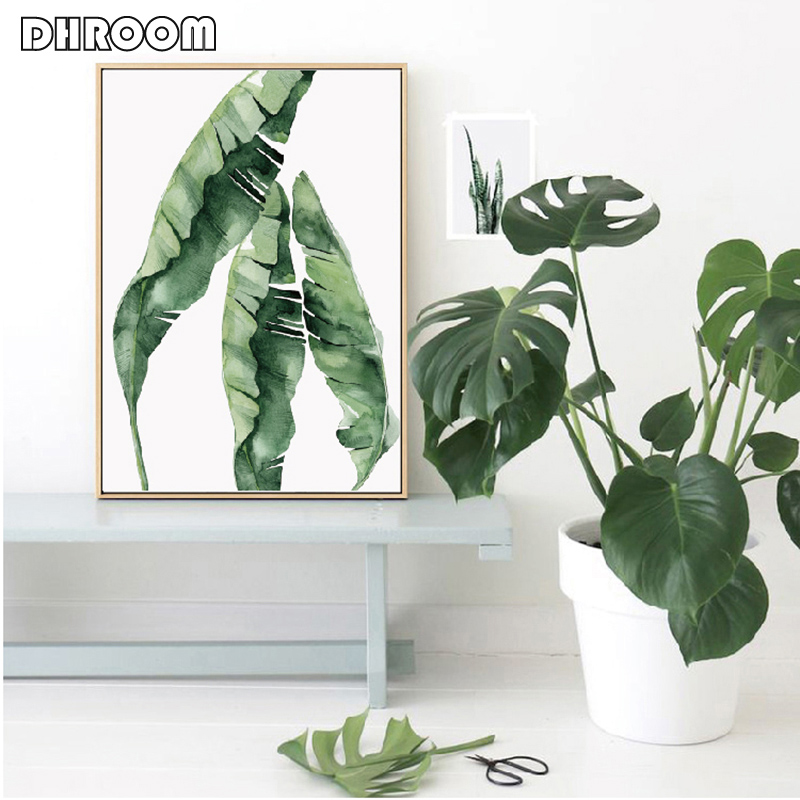HTB1iLYLN9zqK1RjSZFHq6z3CpXaH Watercolor Leaves Wall Art Canvas Painting Green Style Plant Nordic Posters and Prints Decorative Picture Modern Home Decoration