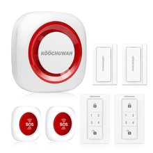 KOOCHUWAH Home Alarm Security System GSM Network Wireless Burglar Alarm Auto SMS Call SOS Panic Button for Home Security 868mhz