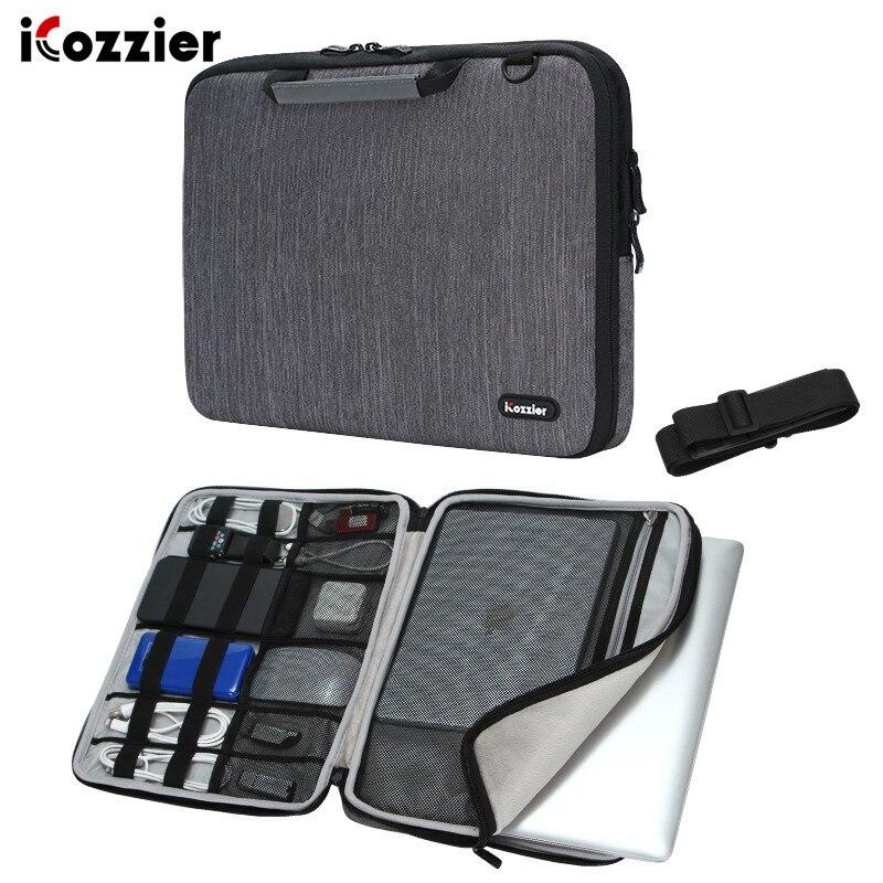 Icozzier 17.3 15 polegada lidar com portátil maleta bolsa de ombro mensageiro transportando luva do portátil saco de proteção com alça de ombro