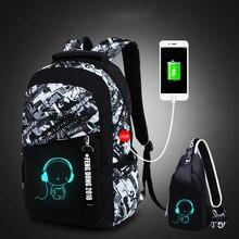 LUKATU Man USB School Bag Trend Student Laptop Backpack For Teenager Boys 2 Pcs/set Doodle Pattern Schoolbag Multifunction Bags