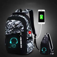 LUKATU Man USB กระเป๋าแนวโน้มนักเรียนแล็ปท็อปกระเป๋าเป้สะพายหลังสำหรับวัยรุ่น Boys 2 ชิ้น/เซ็ต Doodle รูปแบบ Schoolbag Multifunction กระเป๋า