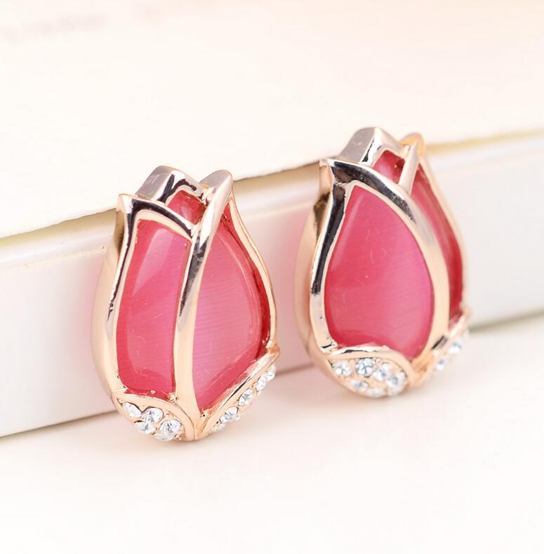 Opal Stone Flower Earings Women Fine Jewelry Rose Gold Crystal Tulips Stud Earrings Brinco Flores Fashion Earrings 2016