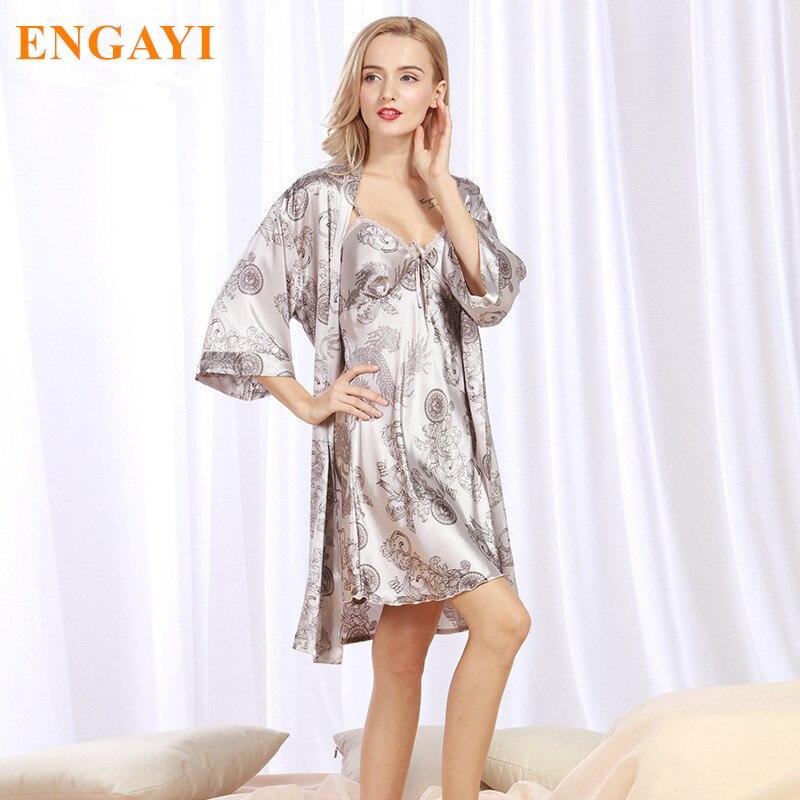 adf0a08648644a New Outono Mulheres Night Dress 2 Pcs Conjunto de Cetim de Seda Camisola  Robe Longue Femme Robes Roupões Camisola Vestido Night WP322 - BENIGO.ML