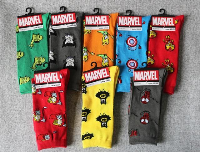 f5e5001f23d Marvel Comics Hero General Socks cartoon Iron Man Captain America Crew Knee- High Warm Stitching
