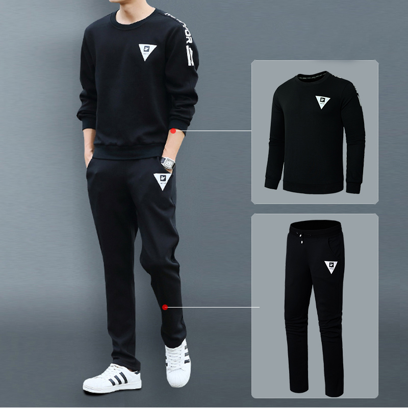 Sport Suit Men Set Sweatshirt Pants Tracksuit Bottom Pullover Jogger Fleece Sweatpants Spring Autumn Long Sleeve Shirt Men 2pcs letter print crew neck long sleeve men s pullover sweatshirt
