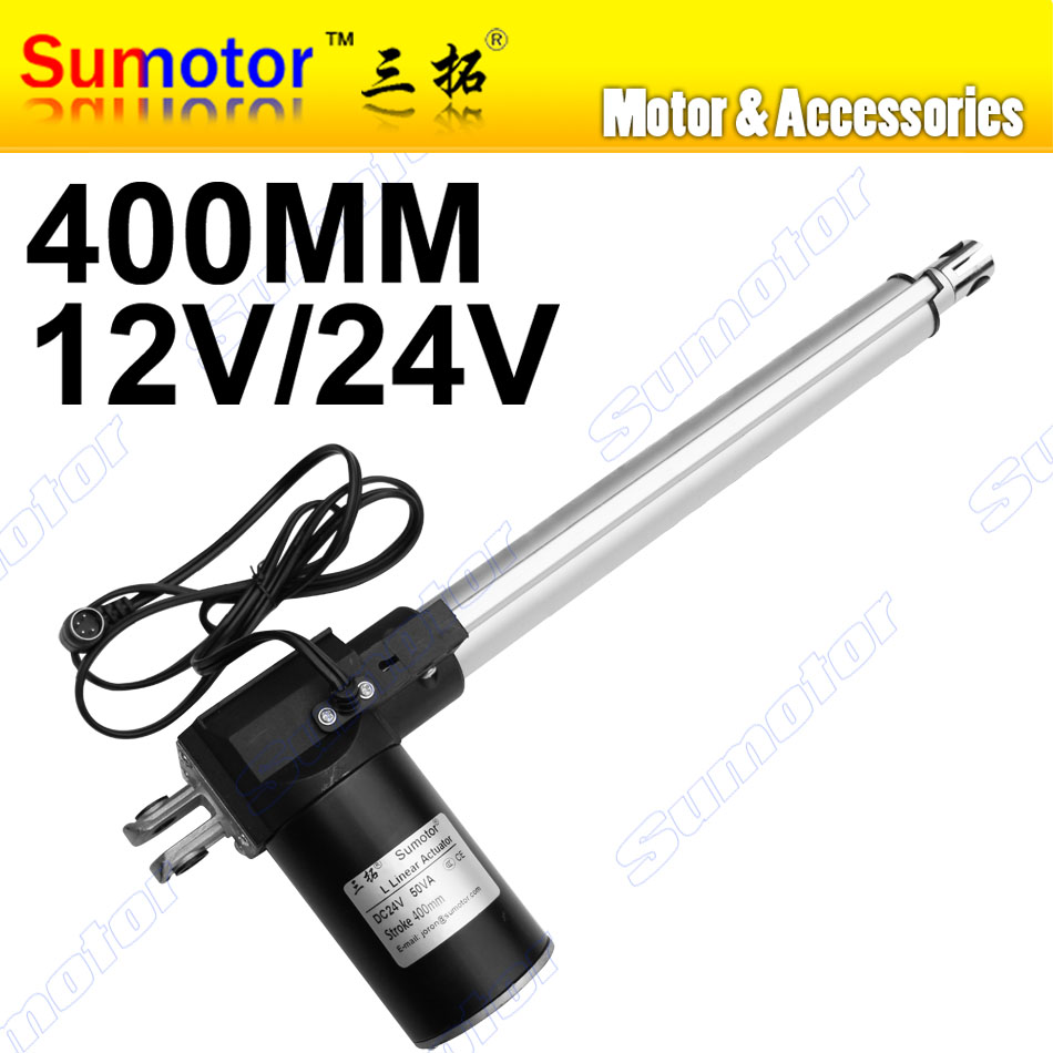 L400 16inch 400mm travel Electric linear actuator DC 12V 24V 5 10 30mm/s Heavy Duty Pusher Progressive 600 300 100Kg furnitureL400 16inch 400mm travel Electric linear actuator DC 12V 24V 5 10 30mm/s Heavy Duty Pusher Progressive 600 300 100Kg furniture