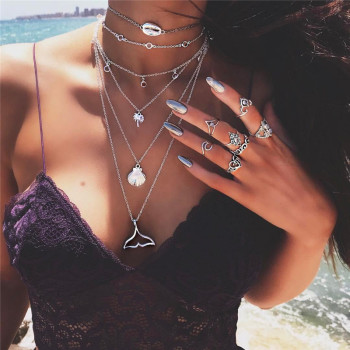 Bohemian Multilayer Mermaid Tail Pendant Necklace for Women Beach Wear