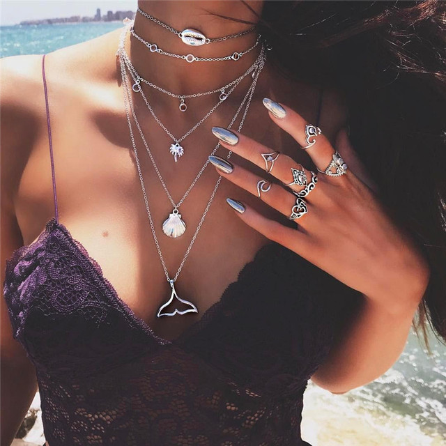 Bohemian Multilayer Mermaid Tail Pendant Necklace for Women Vintage Beach Silver