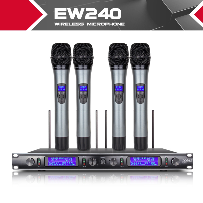 XTUGA EW240 4 Channel Wireless Microphones System UHF Karaoke System Cordless 4 handheld Mic for Stage Church Use for Party freeboss m 2280 50m distance 2 channel headset mic system karaoke party church uhf wireless microphones