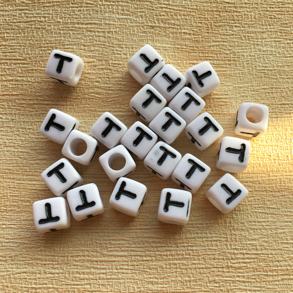 High Quality Single Letter T Printing Acrylic Alphabet Beads Free