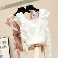 Korean Ruffle pink Lace blouse white shirt short sleeve summer tops for women 2019 short square collar womens tops and blouses