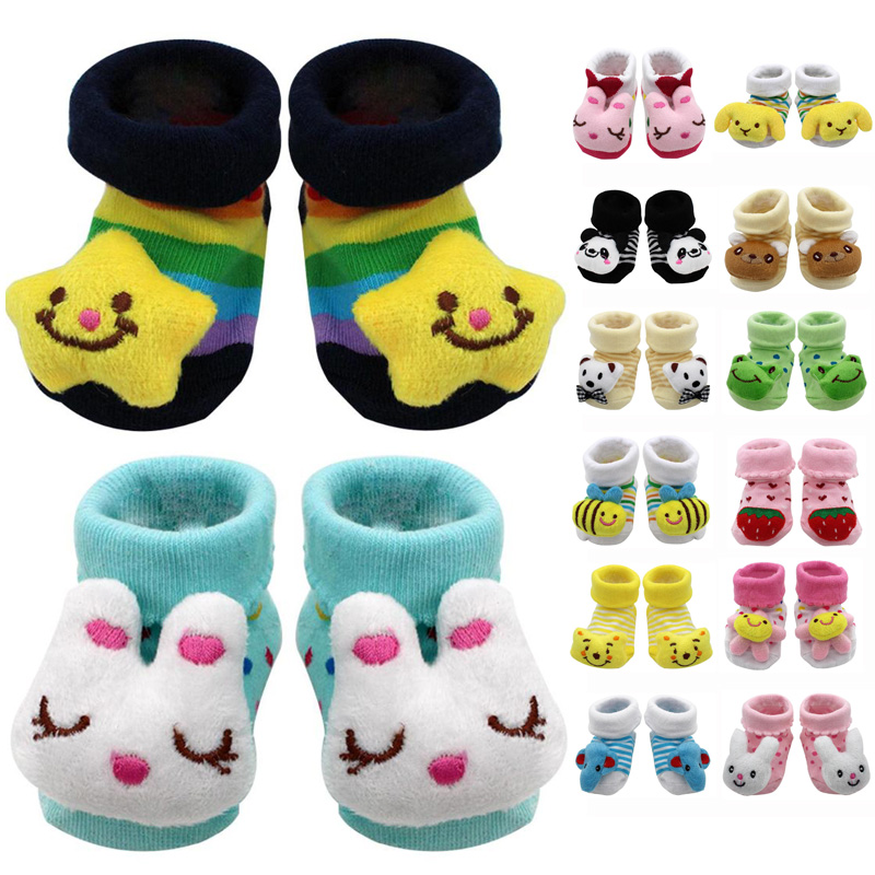 Newborn Baby Cute Socks Toddler Cotton Socks For Kids Gifts Cartoon Animal Lot Anti Slip With Rubber Soles For Child Boys Girls