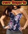 Сексуальная Корсетные Женщины Плюс размер Overbust Вышитые Корсет Топ с G строки Указан Белье талии корректирующее белье