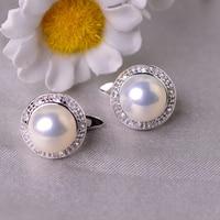 YIKALAISI 925 Sterling Silver Jewelry Pearl Earrings 2019 Fine Natural Pearl jewelry 8-9mm stud Earrings For Women wholesale