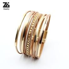 ZG модный Многослойный кожаный браслет для женщин, модные магнитные украшения, ручная застежка, браслет с полностью золотым цветом