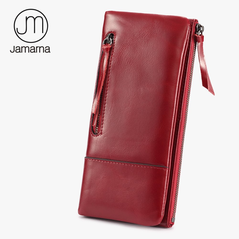 Jamarna Genuine Leather Women Wallets Oil Wax Female Coin Purse Card Holder Double Zipper Phone Wallet Female Free Shipping Red
