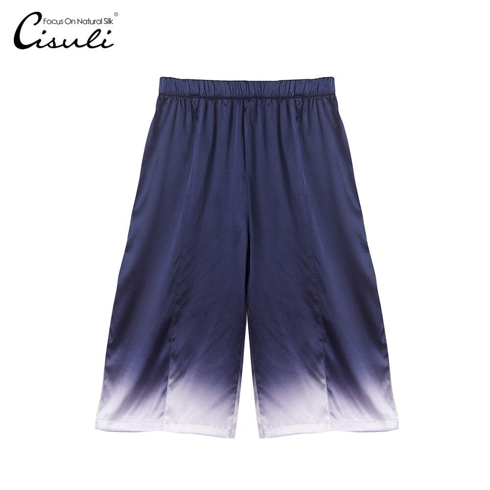 CISULI Silk Stretch Pants Women Wide Leg Pants Summer Comfortable Pure Silk Stretch Fabric Gradual Color