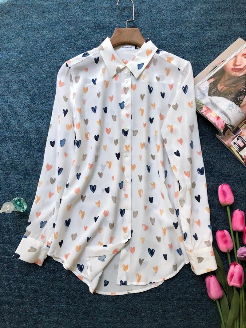 anzeigen als 100Seide bedruckte Taschen langermel Bluse Bild Shirt bunte lieben Frauen weiche EbDI9eH2YW