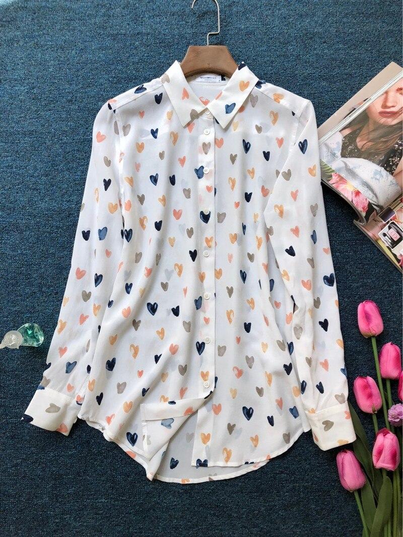 100% الحرير النساء الملونة الحب طباعة طويلة كم جيب الحلو الطازجة بلوزة قميص-في بلوزات وقمصان من ملابس نسائية على  مجموعة 1