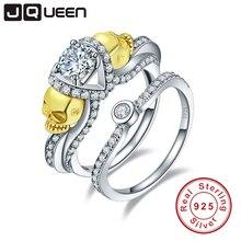Jqueen ювелирный бренд 1.25ct кубического циркония камень череп кольцо стерлингового серебра 925 Серебряные кольца для Для женщин свадебные Обручение ювелирные изделия