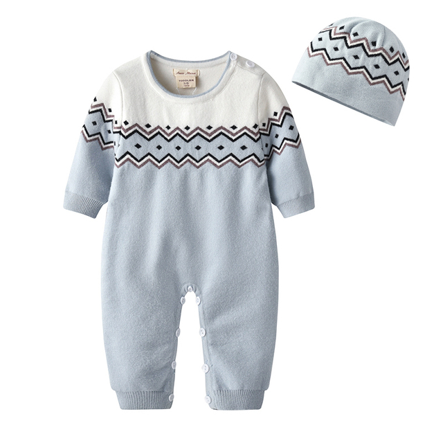 Auro Mesa New Baby Romper with hat Cotton Knitted Jumpsuit Newborn Onesie  Coverall Outerwear 9202ac82ada