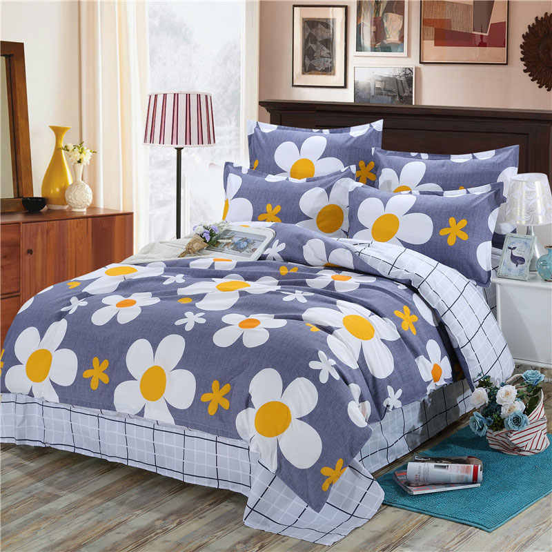 Blue 4pcs Girl Boy Kid Bed Cover Set Cartoon Duvet Cover Adult Child Bed Sheets And Pillowcases Comforter Bedding Set 2TJ-61002