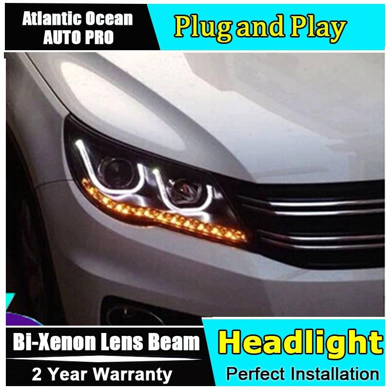 AUTO PRO 2010-2012 For vw tiguan headlights Angel Eyes car styling LED DRL Bi-xenon Double lens parking xenon H7 led headlights