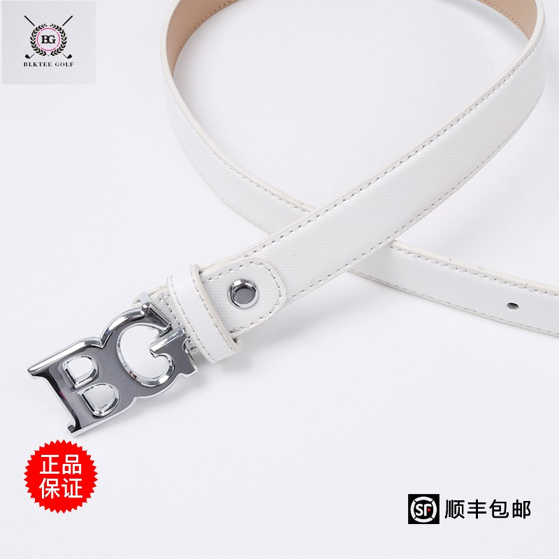 Bg golf belt for pants or skirts women waistband brief white strap design girl genuine leather cowhide sports belt lady