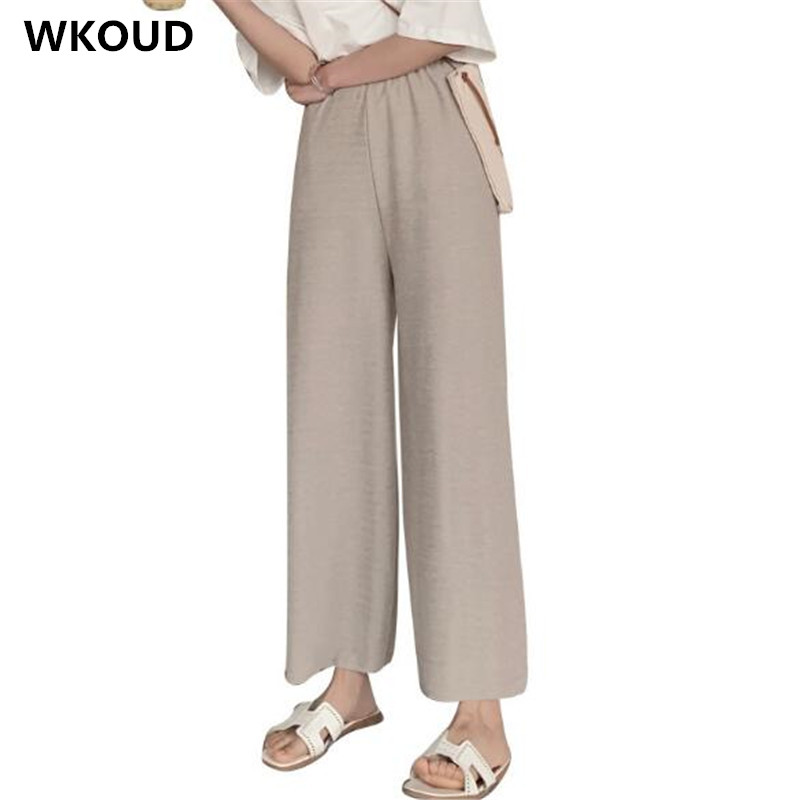 WKOUD Women Knitted   Wide     Leg     Pants   2019 High Waist Ankle-length Solid Thin Summer   Pants   Loose Cool Casual Trousers P9087