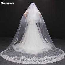 Velos de novia 3 미터 2 t 화이트 & 아이보리 스팽글 블링 반짝 이는 레이스 가장자리 purfle long cathedral wedding veils