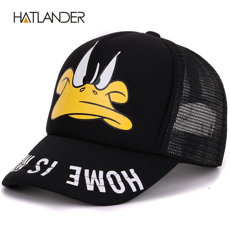 Prix pour Hatlander mignon enfants casquettes de baseball bébé filles pare-soleil chapeaux garçons snapback casquette gorras de bande dessinée canard enfants d'été de chapeau de maille