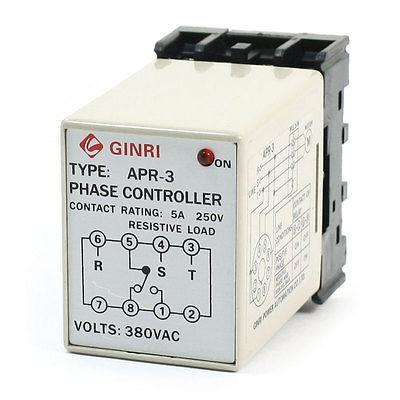 APR-3 Protective AC 380V Red LED Light Phase Failure Sequence Relay vj5 lcd display phase failure sequence unbalance protective relay 3 phase and voltage relay