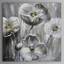 Top Oil Painting Modern Abstract Pure Hand Painted Canvas Painting on Canvas Wall Artwork Grey Flower Palette Knife Oil Painting