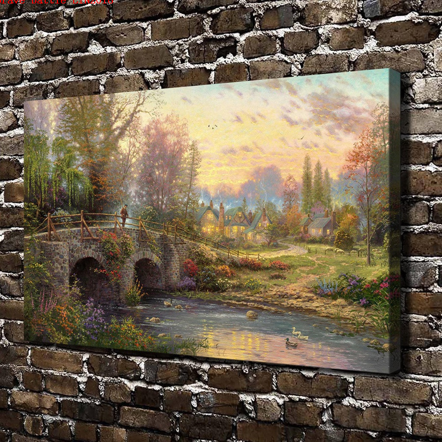 Thomas kinkade cobblestone evening canvas painting print - Home interiors thomas kinkade prints ...