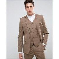 Custom Made Men's Fashion Wedding Suits 3Pcs Groom Tuxedos Formal One Button Slim Fit Best Man Suits( Jacket+Pants+Vest ) RT335