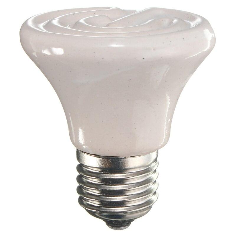 220V Pet Heating Light Bulb E27 25W/50W/75W/100W Mini Infrared Ceramic Emitter Heat Light Lamp Bulb For Reptile Brooder White